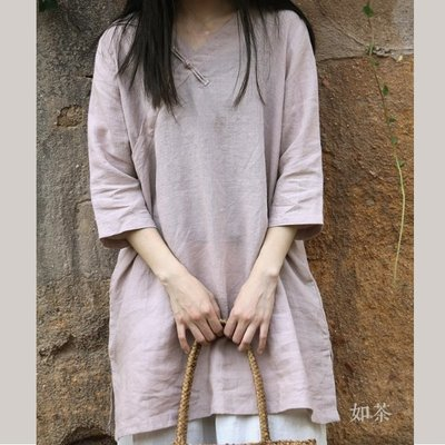 【如茶】中國風夏透氣苎麻盤扣套頭中長衫