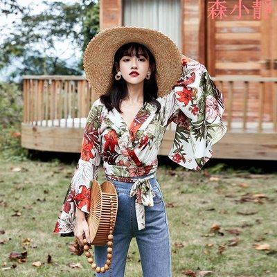 【森小靜】奈良喇叭袖印花雪紡襯衫海邊度假上衣V領超仙女很仙的設計感小眾