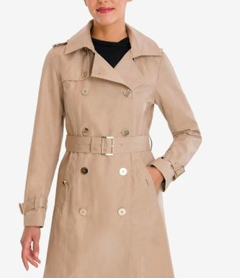 Michael Kors Petite Belted Hooded Trench Coat