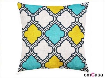 = cmCasa = [4177]美式現代亮色設計 三色菱圓抱枕套 視覺效果新上市