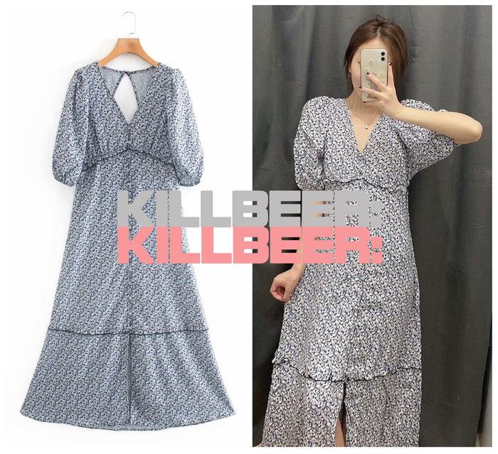 KillBeer:小姊姊等等我之 歐美復古法式優雅田園靛藍小碎花V領荷葉泡泡袖露背排扣開衩連身裙長洋裝A080204