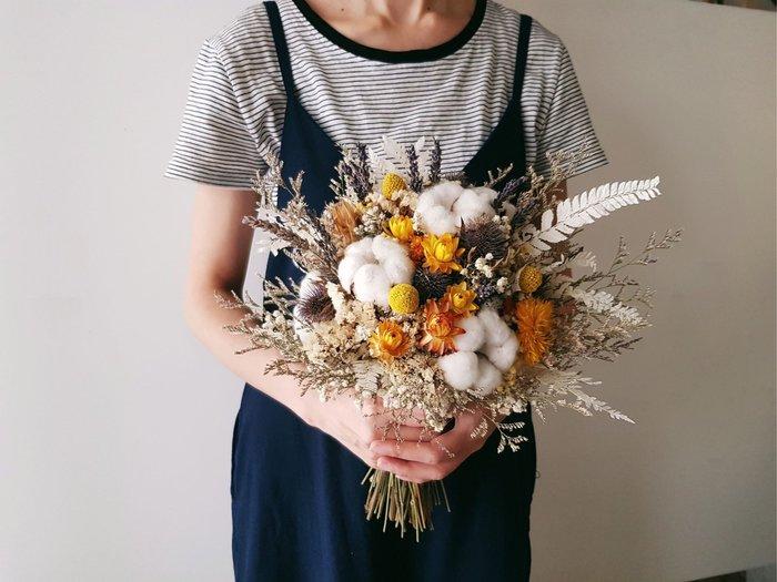 D98。黃色系乾燥捧花。台北歡迎自取。西門【Flower&House花藝之家】