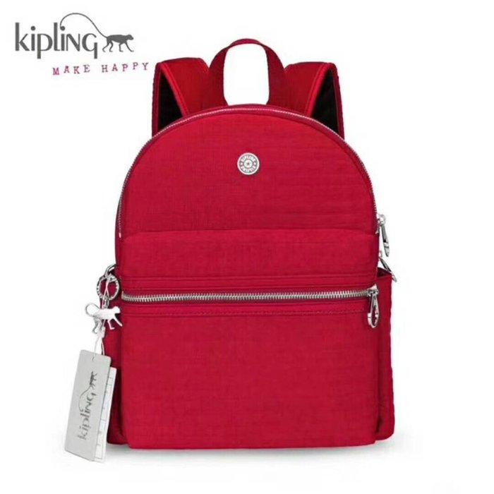 Kipling 猴子包 紅色 K12558 質感壓線 簡約多用輕量雙肩拉鍊後背包 背面可插行李桿 旅遊推薦 防水 限時優惠