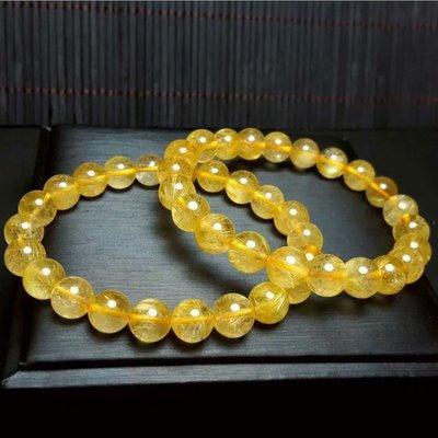 (共兩款)巴西天然金髮晶,黑髮晶單圈水晶手鍊(珠約8mm)