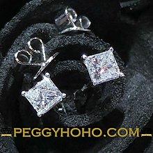 【Peggyhoho】 全新18K白金37份公主方鑽4爪耳環 罕有公主方鑽 PRINCESS CUT  經典4爪