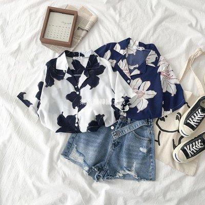 集美屋韓國女裝夏季2019新款女裝正韓百搭西裝領單排扣寬松印花短袖襯衫上衣潮