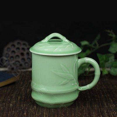 新款龍泉青瓷陶瓷帶蓋泡茶杯子辦公室茶杯浮雕梅蘭竹菊杯