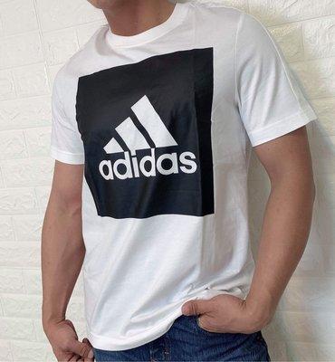 adidas 大LOGO 方形 休閒 運動 訓練 短袖t恤B47358