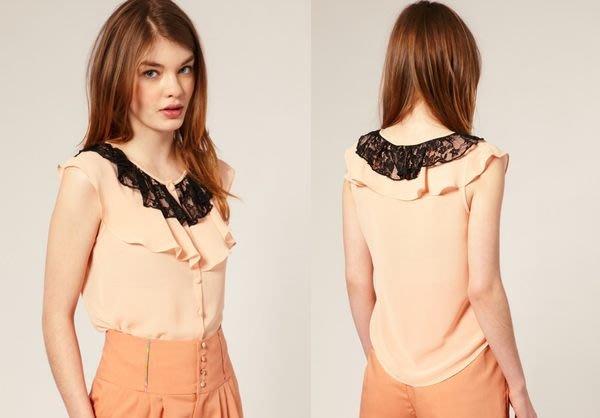 【ASOS WORLD】英國直送 現貨特價 UK10=S號 Nishe女孩粉嫩氣質淺橘色精緻蕾絲荷葉雪紡襯衫上衣