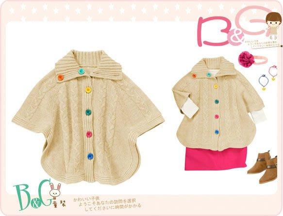 【B& G童裝】正品美國進口Crazy8 Button Sweater Cape 彩色釦子長袖罩衫外套S號4-6yrs