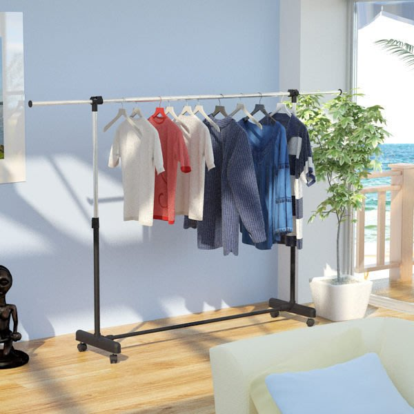 「客尊屋」台灣製,日式簡約風單桿伸縮衣架,曬衣架,衣櫥,吊衣架,單桿衣架,電腦桌,二型