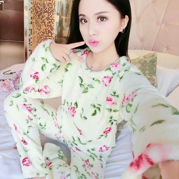 粉紅玫瑰精品屋~法蘭絨水貂絨玫瑰二件套長袖睡衣~現貨+預購