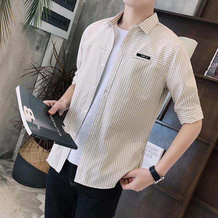 短袖格紋襯衫 條紋襯衫男夏季五分袖薄款襯衣t327