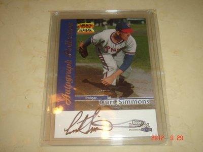美國職棒 Phillies Curt Simmons 1999 Fleer Greats of the Games Auto 簽名卡 球員卡