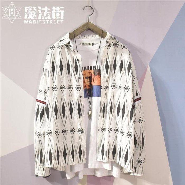日系襯衫男長袖港風ins超火的外套潮流寬鬆印花學生襯衣