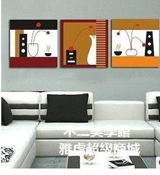 【格倫雅】^沙发背景墙装饰客厅现代简约无框画联画时尚电视背景装饰画挂画28080[g-l-y
