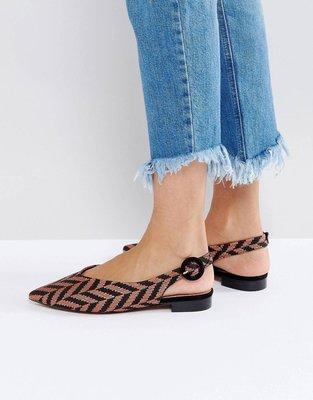 ASOS LOOSE CANNON Ballet Flats 全新波西粉黑色線條紡織鞋面指著腳趾鞋