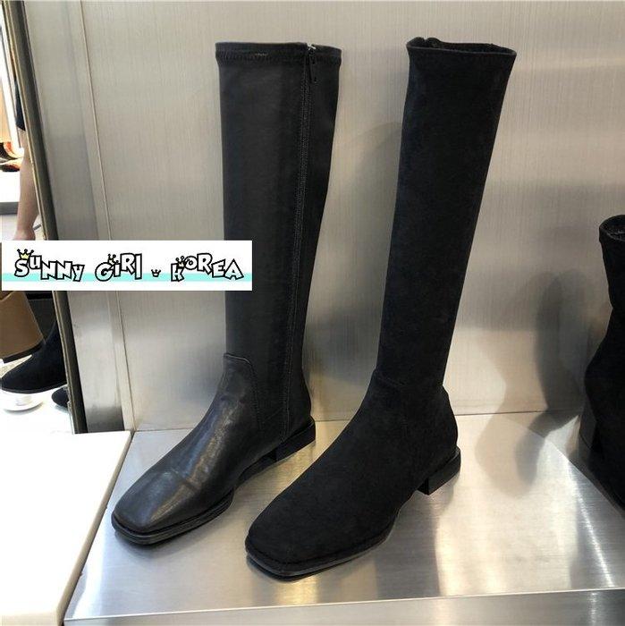 正韓長靴*Sunny Girl*韓國代購方頭低跟側拉鏈高筒馬丁靴 2019九月新款 - [WH1349]