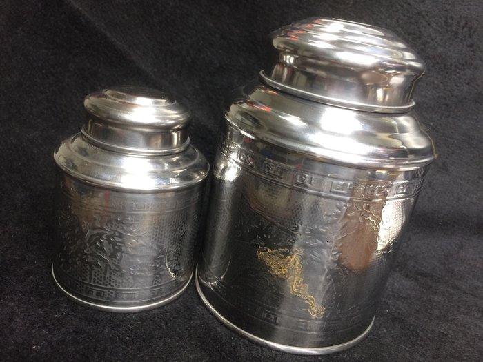 【小川堂】2罐 350 攜帶型 白鐵茶葉罐 不鏽鋼 方便 好用 加厚 保存罐 防潮罐 保鮮罐 餅乾糖果罐 二兩 四兩