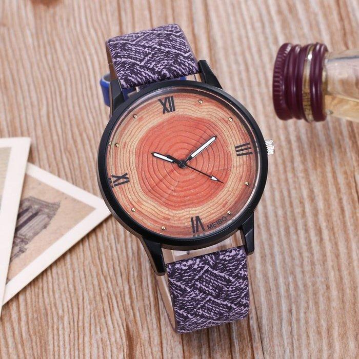 888利是鋪-新款女士木紋手表 黑殼年輪表盤情侶表 個性羅馬字面石英表#手錶