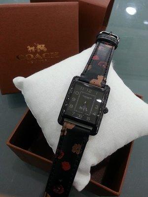 [永達利鐘錶] COACH 方形黑殼花皮帶錶 CO14502013/24mmX32mm 原廠公司貨保固兩年