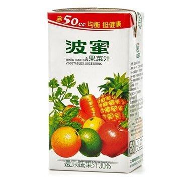 波蜜果菜汁 1箱300mlX24瓶 特價180元 每瓶平均單價7.5元