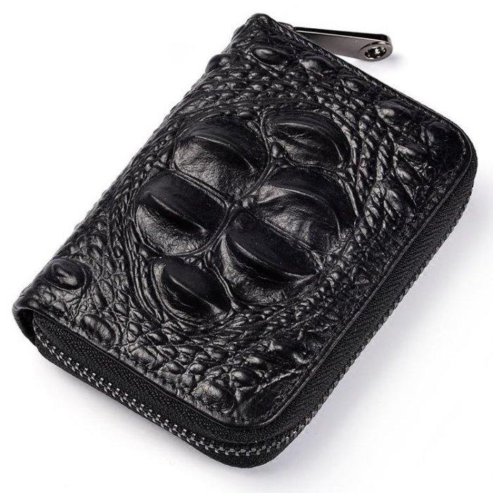 鱷魚紋男士卡包簡約牛皮多卡位信用卡套迷你女卡片包證件卡夾