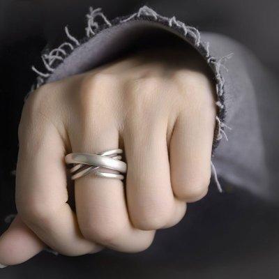 CHIC U 手作飾品潮男女指環銀手飾 復古小眾個性開口可調活口 多層纏繞925銀戒指
