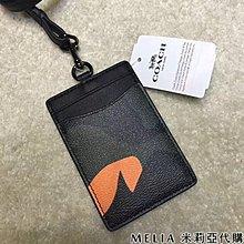 Melia 米莉亞代購 COACH 2019ss 識別證套 證件套 悠遊卡套 F30297 基本款 黑色 橘迷彩圖案