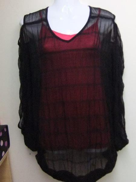 全新專櫃品牌上海1930 黑色超前衛透視洞洞網紗大罩衫可無袖或有袖兩穿多造型 原價2280
