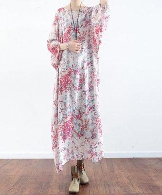 花間度 慕  夏季新款原創設計寬鬆大碼文藝小清新碎花絲麻連衣長裙袍子