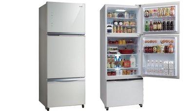 SAMPO 聲寶 三門變頻冰箱 SR-P46GDV 琉璃棕 (R7) 典雅白 (W5) 455公升 玻璃門版 觸控式面板
