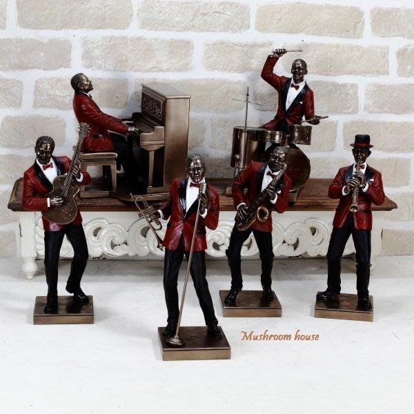 點點蘑菇屋{藝術擺飾}歐洲精品黑人系列爵士樂隊仿銅雕塑 Jazz樂團雕像 現貨 免運費