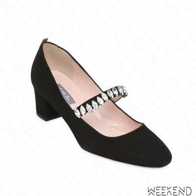 【WEEKEND】 Sarah Jessica Parker SJP Dazzle 麂皮 鑲鑽 高跟鞋 黑色