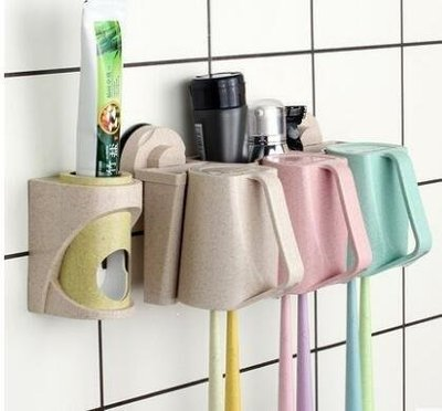 YEAHSHOP 創意吸壁式牙刷架套裝吸盤牙膏盒Y185