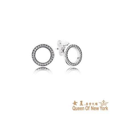 紐約女王代購 Pandora 潘多拉 鑲鑽鏤空圈耳環 925純銀 Charms 美國代購 可分期