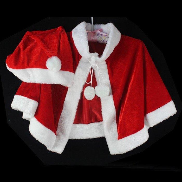 【洋洋小品小孩金絲絨聖誕披肩+聖誕帽XG4】兒童聖誕服 聖誕節服裝 聖誕婆婆服 服裝女孩聖誕裙聖誕帽聖披肩裝