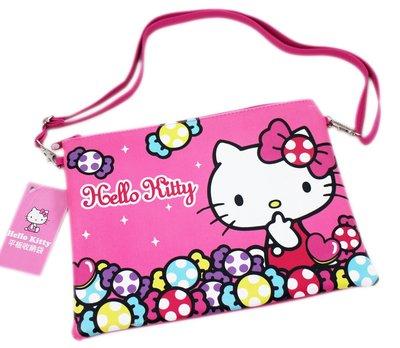 【卡漫迷】 Hello Kitty 平板 斜背包 皮革 桃紅 ㊣版 多功能 拉鍊 肩背 萬用 側背包 收納袋 10吋