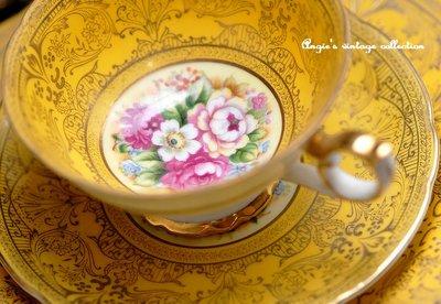 [來我家挖寶]... 古董瓷器 Occupied Japan 時期手工描金繪圖 裝飾杯盤組 厚金繁複做工精緻 一杯兩盤