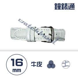 【鐘錶通】C1.08KW《繽紛系列》鱷魚壓紋-16mm 雪白┝手錶錶帶/高質感/牛皮錶帶┥