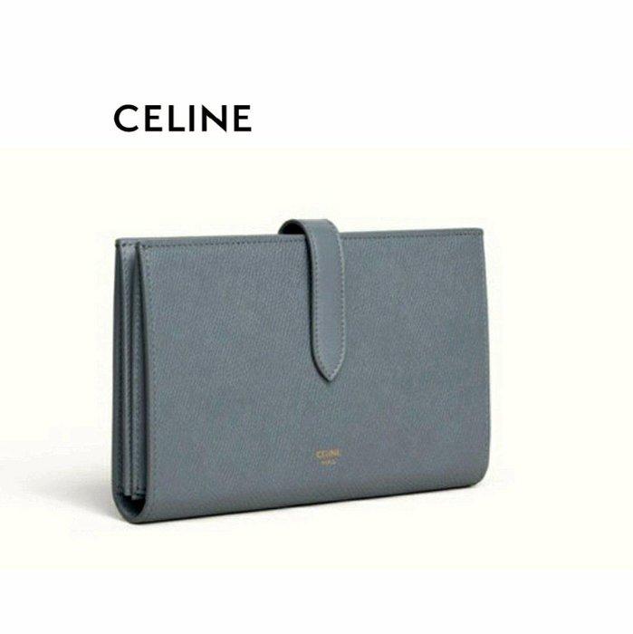 CELINE ►( 灰藍色×金屬金色 )   防刮壓紋 真皮 兩摺長夾 錢包 皮夾|100%全新正品|特價!