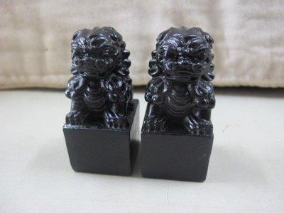 二手舖 NO.1420 印材 黑檀木雕 石獅一對