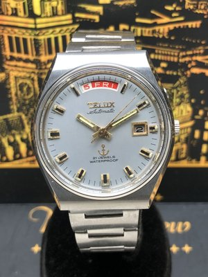 鐵力士TELUX 自動上鍊機械男錶 日期星期顯示 鋼錶帶
