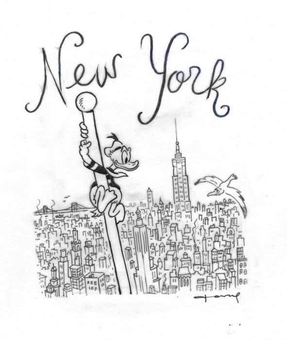 迪士尼Disney 藝術家:Tony Fernandez--Donald Duck - New York 附簽名, 附證