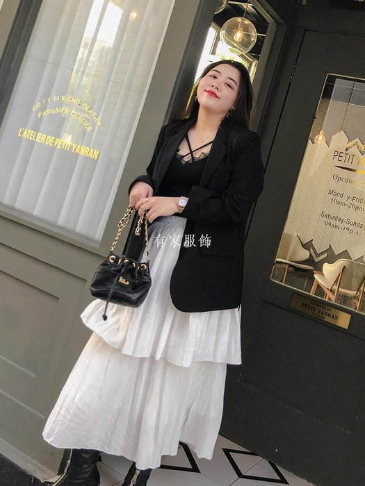 有家服飾自制春裝新款大碼女裝正韓顯瘦小西裝外套胖妹妹洋氣潮款腰帶西服
