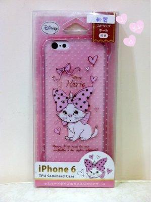 《東京家族》粉半透明 迪士尼 瑪麗貓 白色點點 iphone 6 手機殼