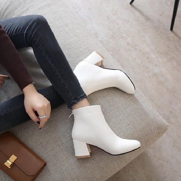 秋鞋女新款短筒馬丁靴小跟短靴女及裸靴中跟粗跟女靴春秋單靴