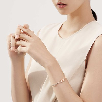 Tiffany & Co. 18K金款T wire 線圈手環無鑲鑽款
