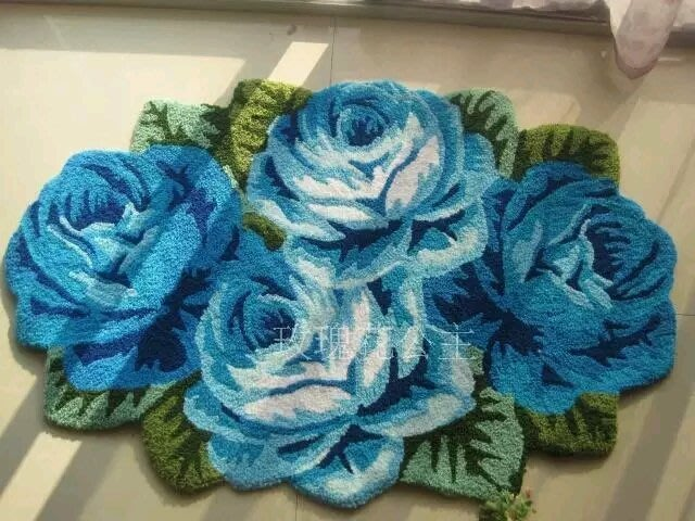 粉紅玫瑰精品屋~浪漫藍色玫瑰客廳地毯 床邊毯~