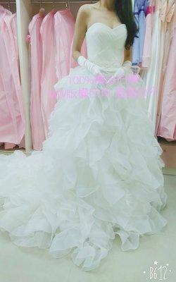 【整批賠售】自助婚紗禮服工作室出清全新~9成新純手工白紗禮服